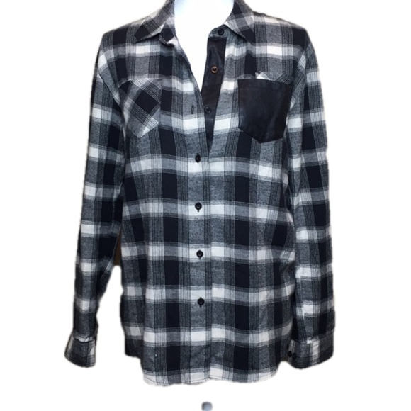 Volcom Womens Check Out Time V Neck Button Up Front Shirt